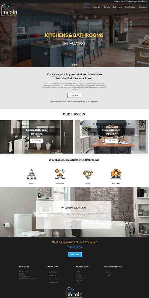 Lincoln Kitchens and Bathrooms Home page Web Design